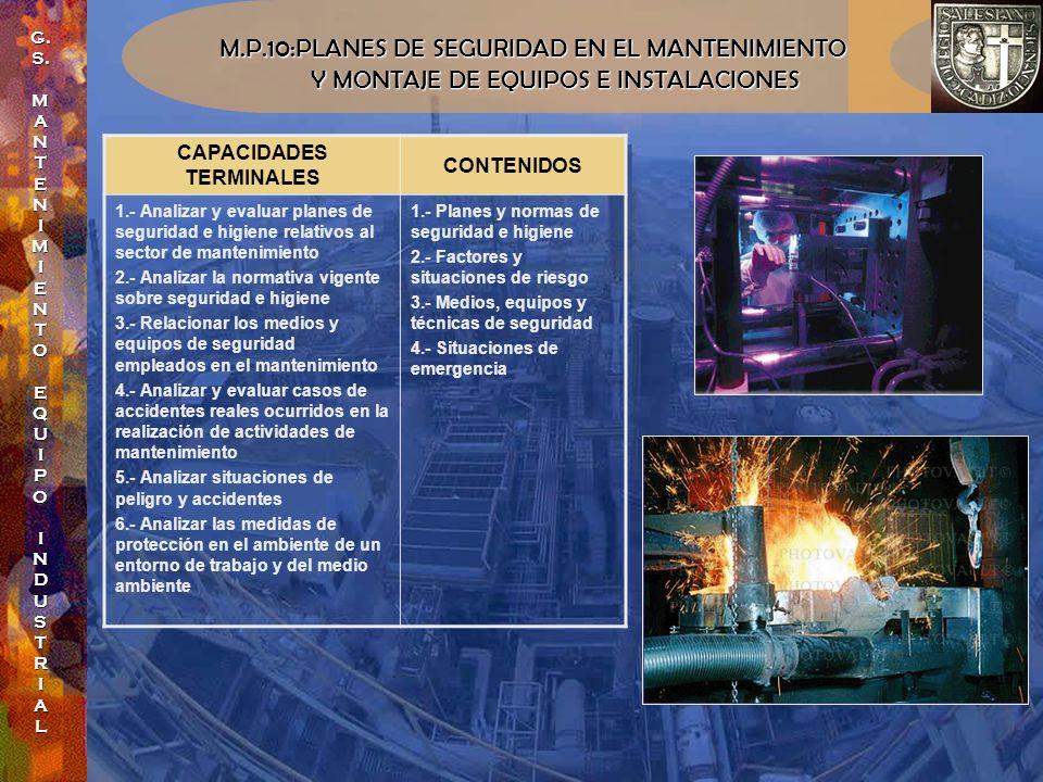 M.P.10:PLANES DE SEGURIDAD EN EL MANTENIMIENTO Y MONTAJE DE EQUIPOS E INSTALACIONES Y MONTAJE DE EQUIPOS E INSTALACIONES CAPACIDADES TERMINALES CONTEN