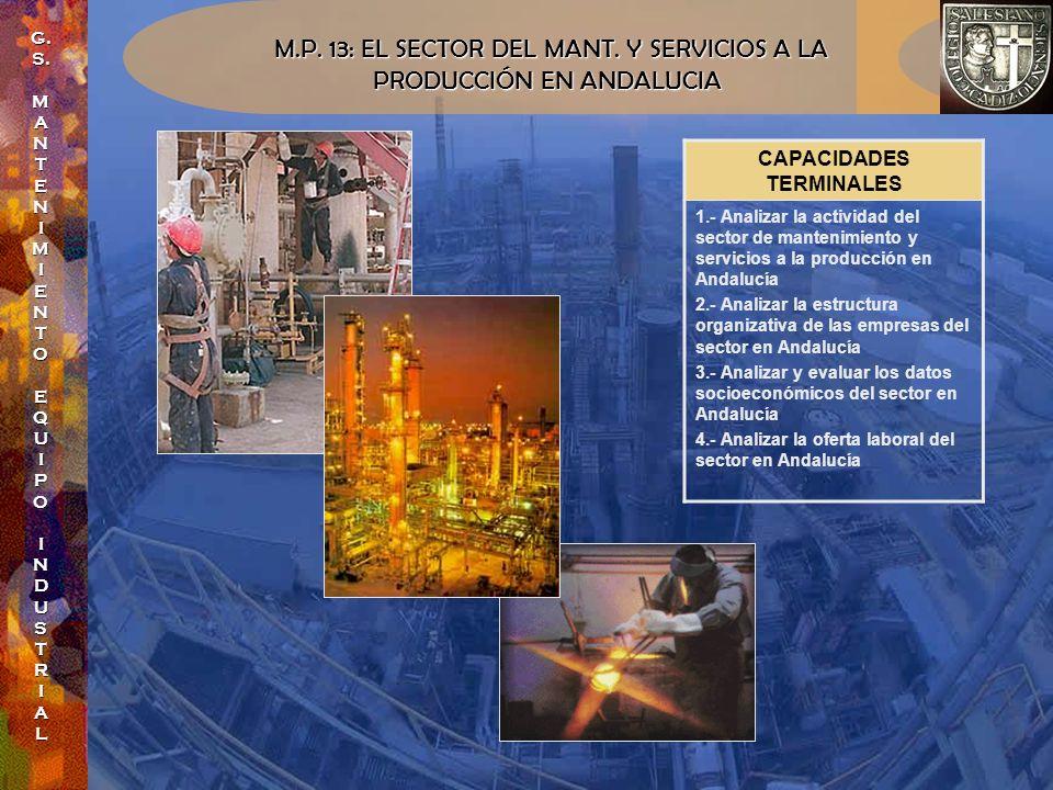 M.P. 13: EL SECTOR DEL MANT. Y SERVICIOS A LA PRODUCCIÓN EN ANDALUCIA PRODUCCIÓN EN ANDALUCIA CAPACIDADES TERMINALES 1.- Analizar la actividad del sec