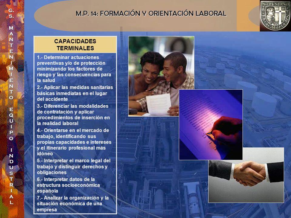 M.P. 14: FORMACIÓN Y ORIENTACIÓN LABORAL CAPACIDADES TERMINALES 1.- Determinar actuaciones preventivas y/o de protección minimizando los factores de r