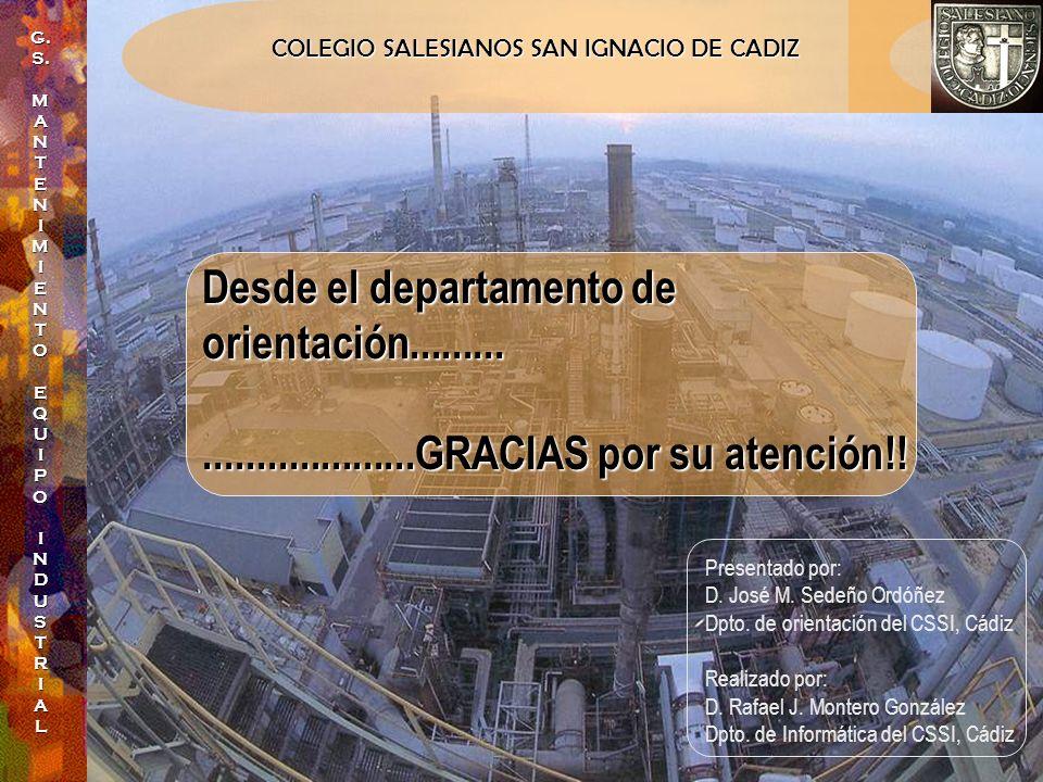 COLEGIO SALESIANOS SAN IGNACIO DE CADIZ G.S.MANTENIMIENTO EQUIPOINDUSTRIAL Desde el departamento de orientación.............................GRACIAS po