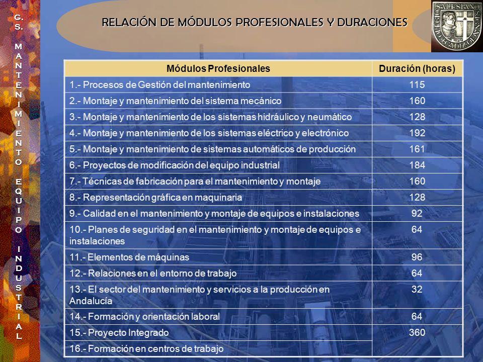 RELACIÓN DE MÓDULOS PROFESIONALES Y DURACIONES Módulos ProfesionalesDuración (horas) 1.- Procesos de Gestión del mantenimiento115 2.- Montaje y manten