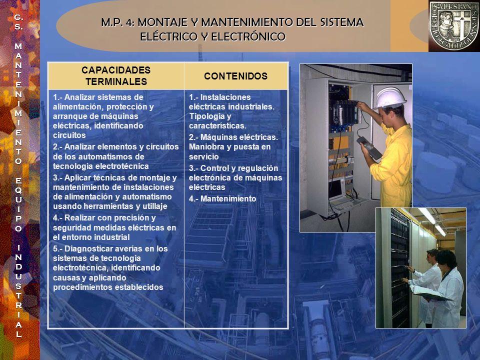 M.P. 4: MONTAJE Y MANTENIMIENTO DEL SISTEMA ELÉCTRICO Y ELECTRÓNICO ELÉCTRICO Y ELECTRÓNICO CAPACIDADES TERMINALES CONTENIDOS 1.- Analizar sistemas de