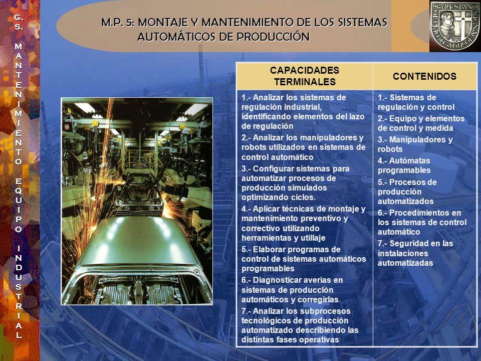 M.P. 5: MONTAJE Y MANTENIMIENTO DE LOS SISTEMAS AUTOMÁTICOS DE PRODUCCIÓN AUTOMÁTICOS DE PRODUCCIÓN CAPACIDADES TERMINALES CONTENIDOS 1.- Analizar los