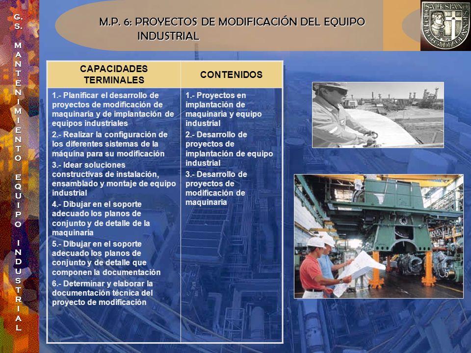 M.P. 6: PROYECTOS DE MODIFICACIÓN DEL EQUIPO INDUSTRIAL INDUSTRIAL CAPACIDADES TERMINALES CONTENIDOS 1.- Planificar el desarrollo de proyectos de modi