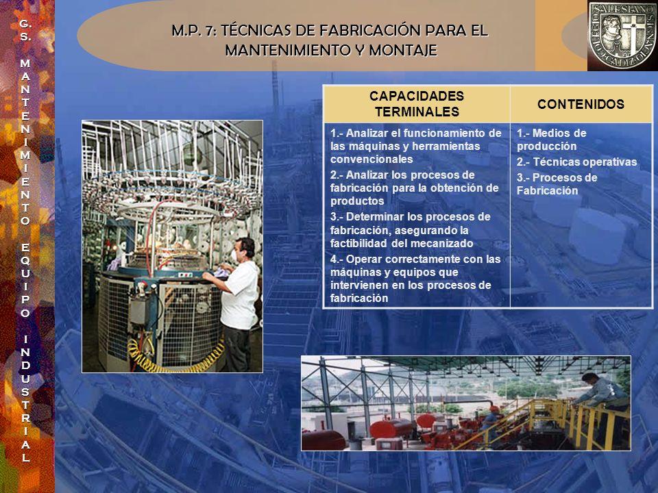 M.P. 7: TÉCNICAS DE FABRICACIÓN PARA EL MANTENIMIENTO Y MONTAJE MANTENIMIENTO Y MONTAJE CAPACIDADES TERMINALES CONTENIDOS 1.- Analizar el funcionamien