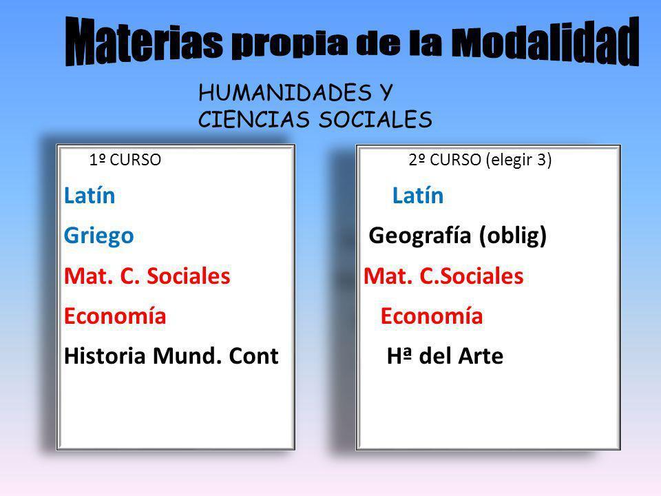 HUMANIDADES Y CIENCIAS SOCIALES 1º CURSO Latín Griego Mat.