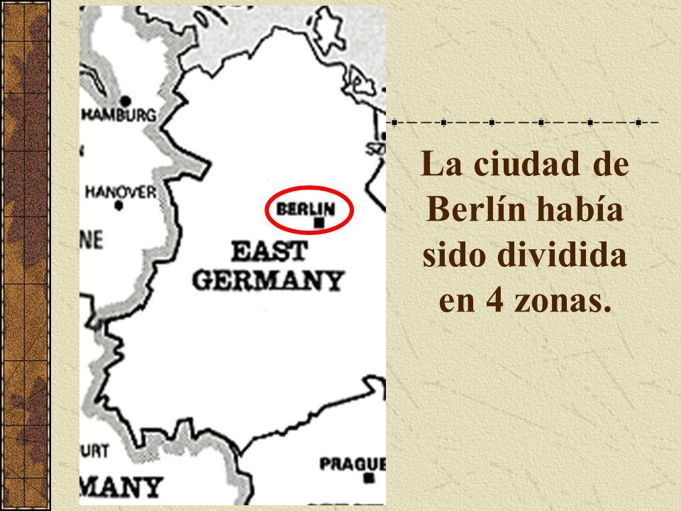 La ciudad de Berlín había sido dividida en 4 zonas.