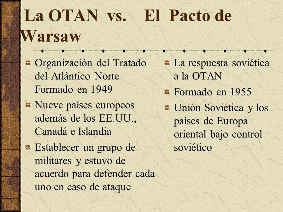 La OTAN vs. El Pacto de Warsaw Organización del Tratado del Atlántico Norte Formado en 1949 Nueve países europeos además de los EE.UU., Canadá e Islan