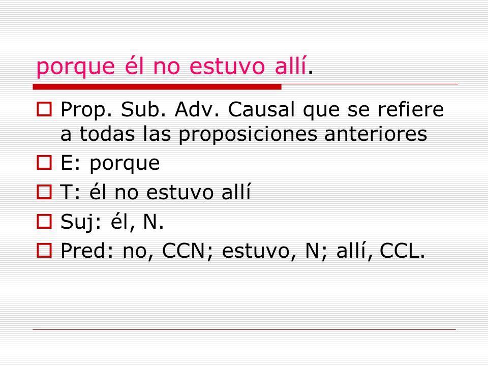 porque él no estuvo allí. Prop. Sub. Adv. Causal que se refiere a todas las proposiciones anteriores E: porque T: él no estuvo allí Suj: él, N. Pred: