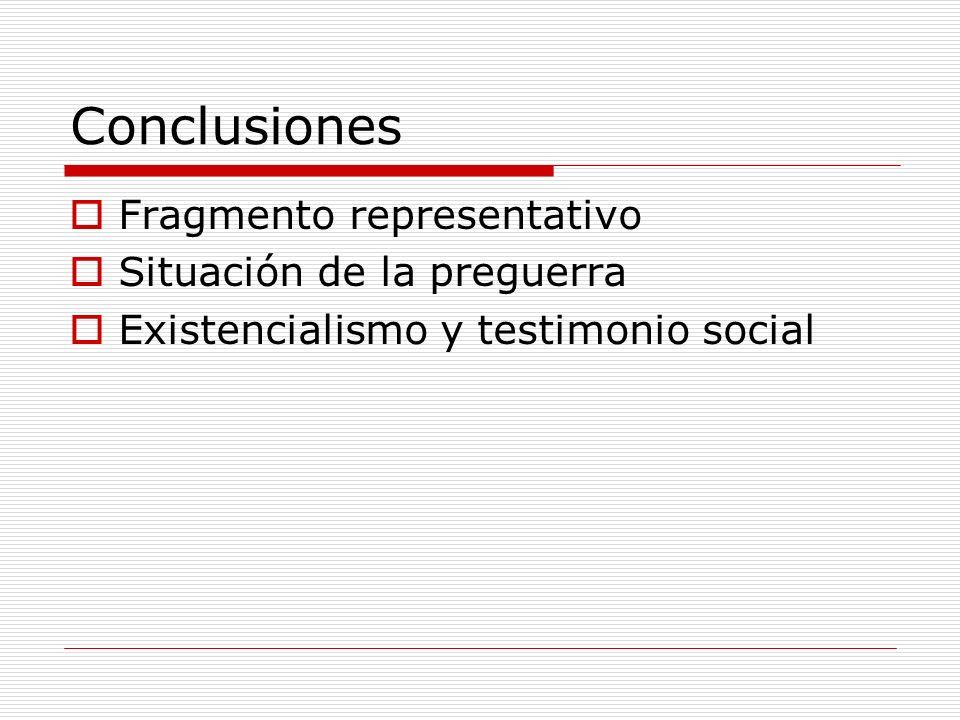 Conclusiones Fragmento representativo Situación de la preguerra Existencialismo y testimonio social