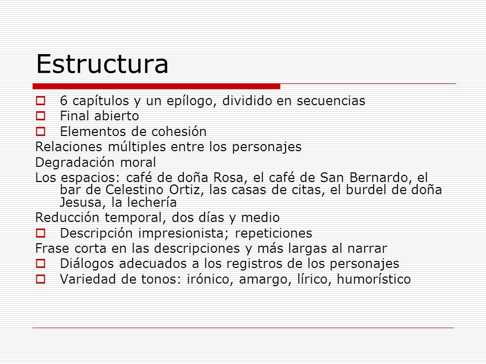 Estructura 6 capítulos y un epílogo, dividido en secuencias Final abierto Elementos de cohesión Relaciones múltiples entre los personajes Degradación