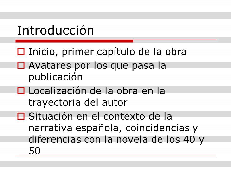 Introducción Inicio, primer capítulo de la obra Avatares por los que pasa la publicación Localización de la obra en la trayectoria del autor Situación