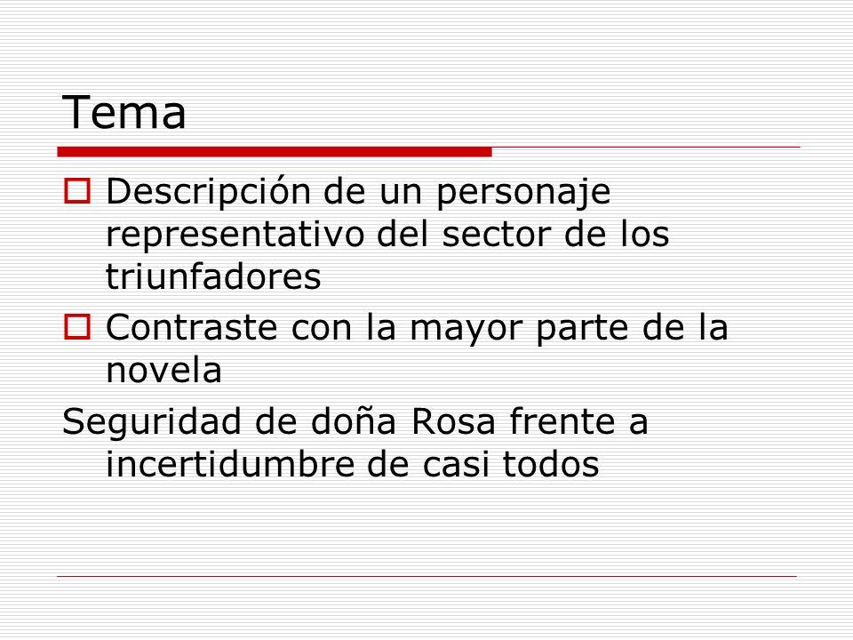 Tema Descripción de un personaje representativo del sector de los triunfadores Contraste con la mayor parte de la novela Seguridad de doña Rosa frente
