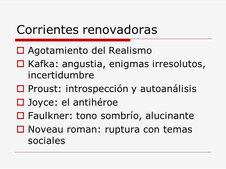 Corrientes renovadoras Agotamiento del Realismo Kafka: angustia, enigmas irresolutos, incertidumbre Proust: introspección y autoanálisis Joyce: el ant