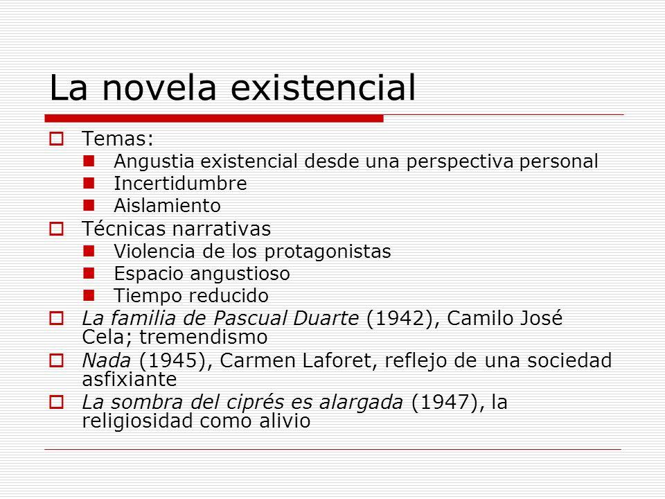 La novela existencial Temas: Angustia existencial desde una perspectiva personal Incertidumbre Aislamiento Técnicas narrativas Violencia de los protag