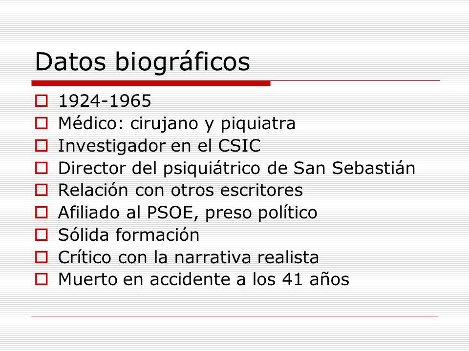 Datos biográficos 1924-1965 Médico: cirujano y piquiatra Investigador en el CSIC Director del psiquiátrico de San Sebastián Relación con otros escrito