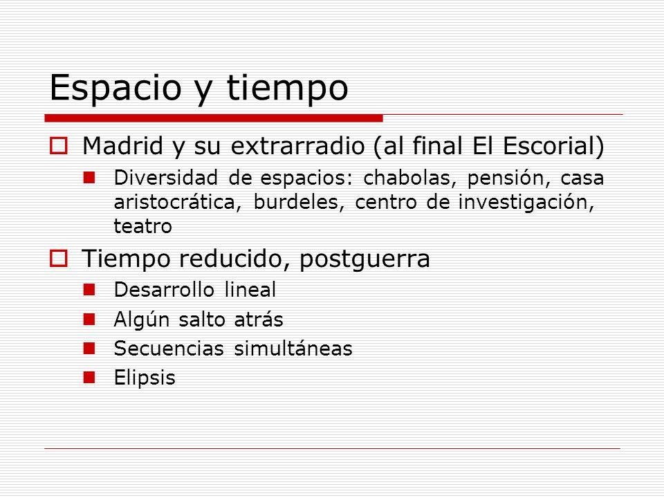 Espacio y tiempo Madrid y su extrarradio (al final El Escorial) Diversidad de espacios: chabolas, pensión, casa aristocrática, burdeles, centro de inv