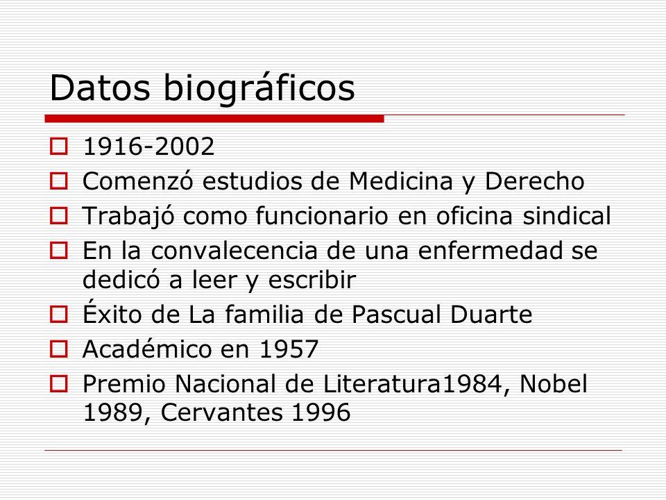 Datos biográficos 1916-2002 Comenzó estudios de Medicina y Derecho Trabajó como funcionario en oficina sindical En la convalecencia de una enfermedad