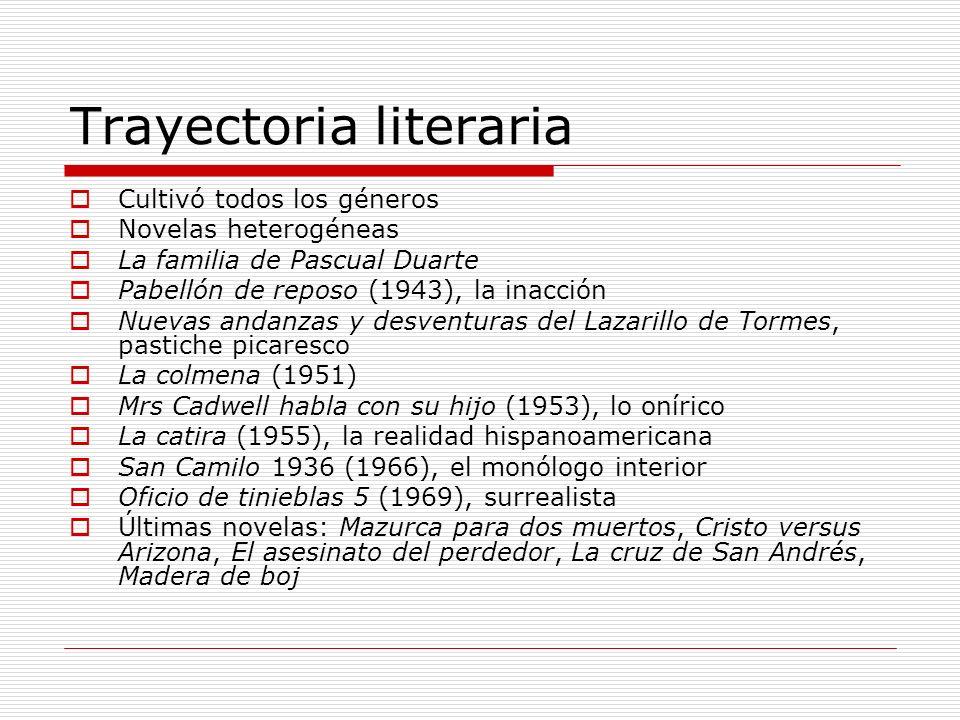 Trayectoria literaria Cultivó todos los géneros Novelas heterogéneas La familia de Pascual Duarte Pabellón de reposo (1943), la inacción Nuevas andanz