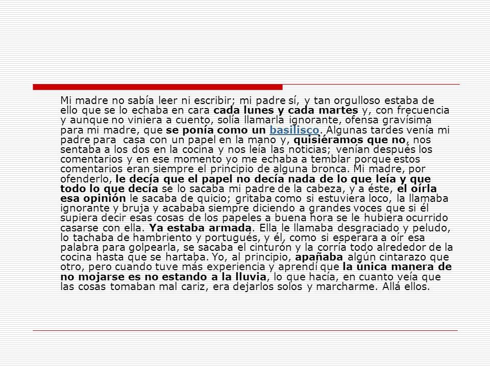 ORGANIZACIÓN DE LAS IDEAS DEL TEXTO El texto se organiza en dos bloques de contenido, que podríamos nombrar como 1: Recuerdos de ambiente (1º y 2º párrafo) y 2: Recuerdos sobre Javier y los amigos (3º, 4º y 5º párrafo).