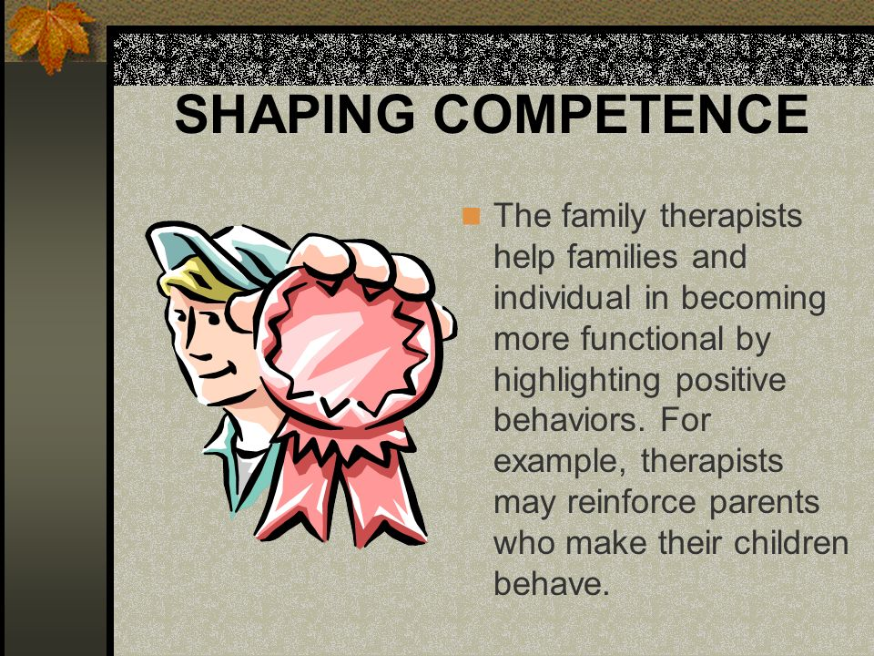SHAPING COMPETENCE The family therapists help families and individual in becoming more functional by highlighting positive behaviors.