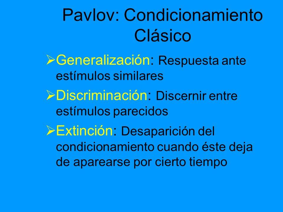 Pavlov: Condicionamiento Clásico Generalización: Respuesta ante estímulos similares Discriminación: Discernir entre estímulos parecidos Extinción: Des