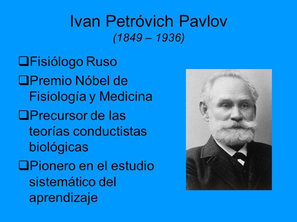 Ivan Petróvich Pavlov (1849 – 1936) Fisiólogo Ruso Premio Nóbel de Fisiología y Medicina Precursor de las teorías conductistas biológicas Pionero en e