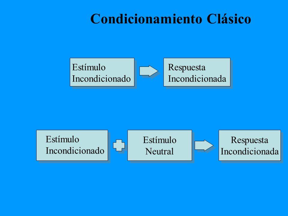 Condicionamiento Clásico Estímulo Neutral Estímulo Neutral Respuesta Incondicionada Respuesta Incondicionada Estímulo Incondicionado Respuesta Incondi