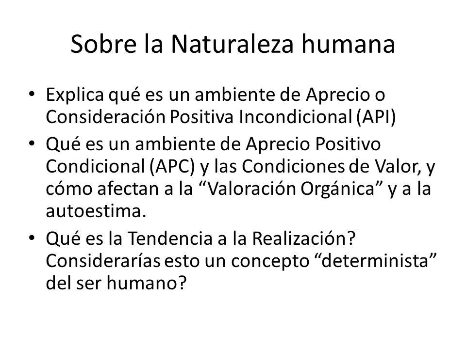 Sobre la Naturaleza humana Explica qué es un ambiente de Aprecio o Consideración Positiva Incondicional (API) Qué es un ambiente de Aprecio Positivo C