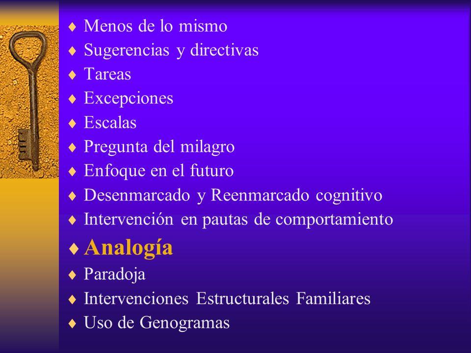 Menos de lo mismo Sugerencias y directivas Tareas Excepciones Escalas Pregunta del milagro Enfoque en el futuro Desenmarcado y Reenmarcado cognitivo Intervención en pautas de comportamiento Analogía Paradoja Intervenciones Estructurales Familiares Uso de Genogramas