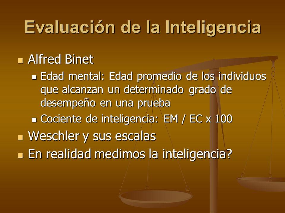 Evaluación de la Inteligencia Alfred Binet Alfred Binet Edad mental: Edad promedio de los individuos que alcanzan un determinado grado de desempeño en
