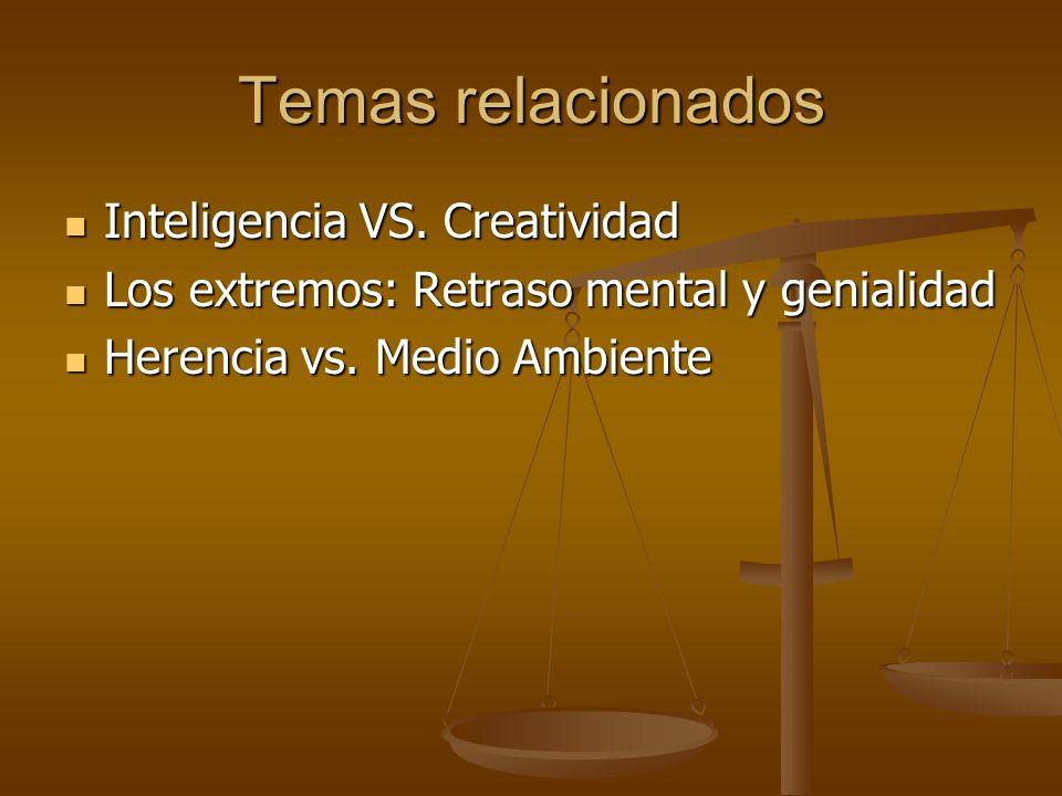 Temas relacionados Inteligencia VS. Creatividad Inteligencia VS. Creatividad Los extremos: Retraso mental y genialidad Los extremos: Retraso mental y