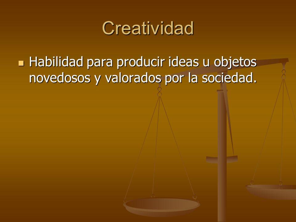 Creatividad Habilidad para producir ideas u objetos novedosos y valorados por la sociedad. Habilidad para producir ideas u objetos novedosos y valorad