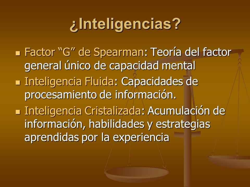 ¿Inteligencias? Factor G de Spearman: Teoría del factor general único de capacidad mental Factor G de Spearman: Teoría del factor general único de cap