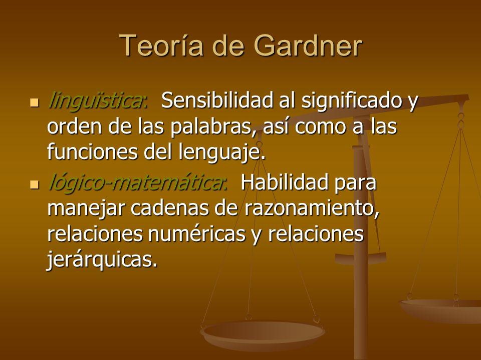 Teoría de Gardner linguïstica: Sensibilidad al significado y orden de las palabras, así como a las funciones del lenguaje. linguïstica: Sensibilidad a