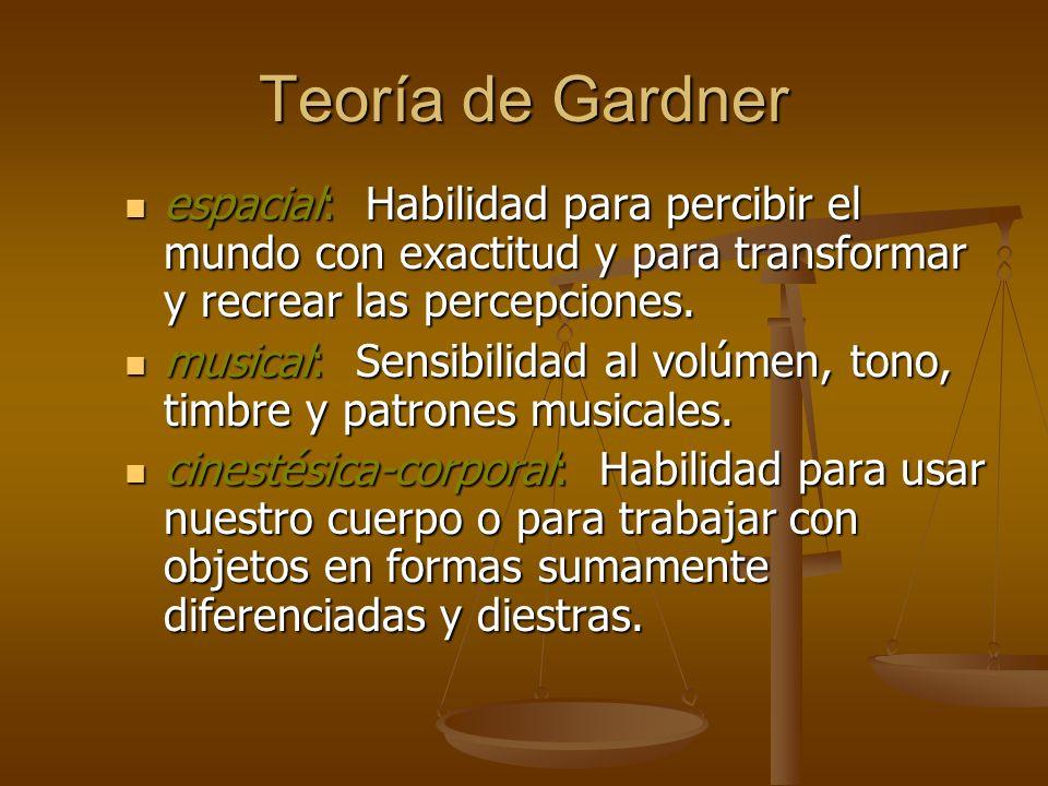Teoría de Gardner espacial: Habilidad para percibir el mundo con exactitud y para transformar y recrear las percepciones. espacial: Habilidad para per