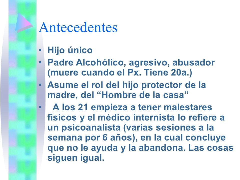 Antecedentes Hijo único Padre Alcohólico, agresivo, abusador (muere cuando el Px. Tiene 20a.) Asume el rol del hijo protector de la madre, del Hombre