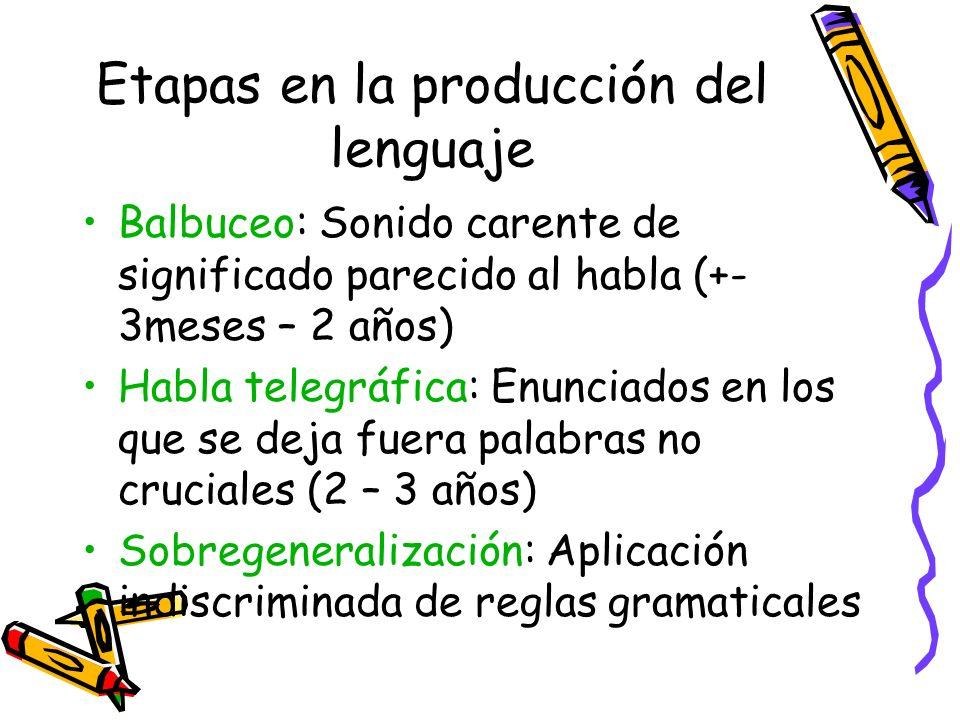 Etapas en la producción del lenguaje Balbuceo: Sonido carente de significado parecido al habla (+- 3meses – 2 años) Habla telegráfica: Enunciados en l