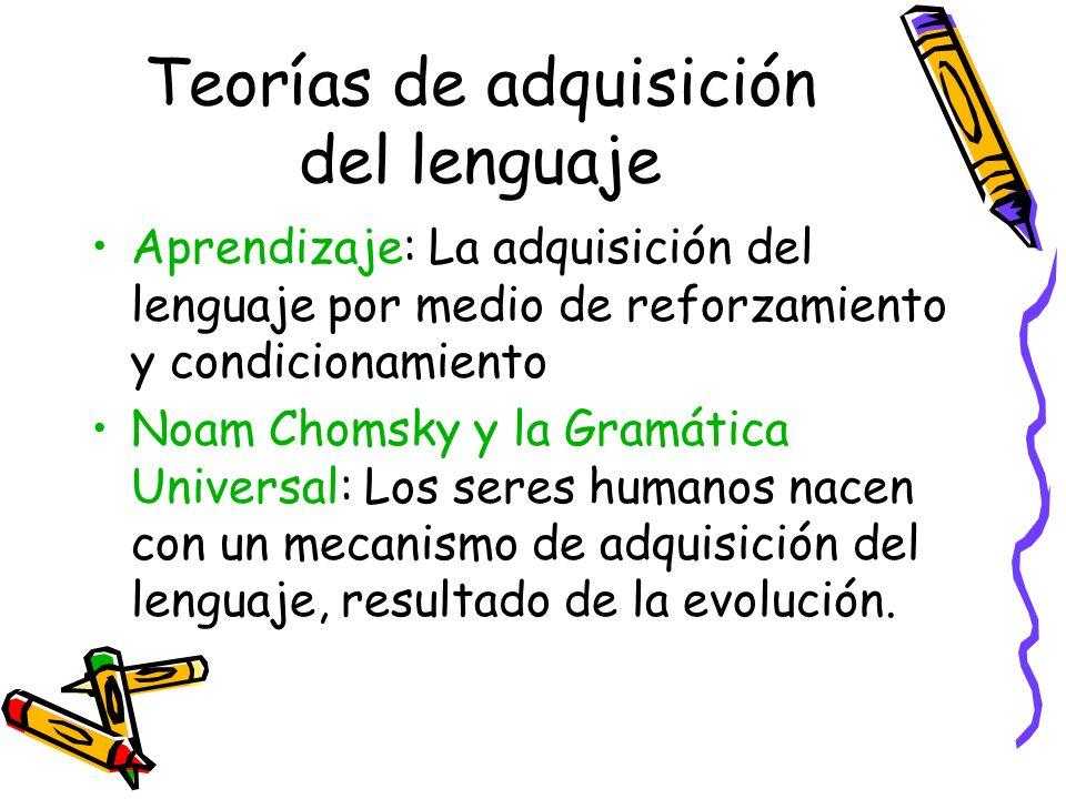 Teorías de adquisición del lenguaje Aprendizaje: La adquisición del lenguaje por medio de reforzamiento y condicionamiento Noam Chomsky y la Gramática