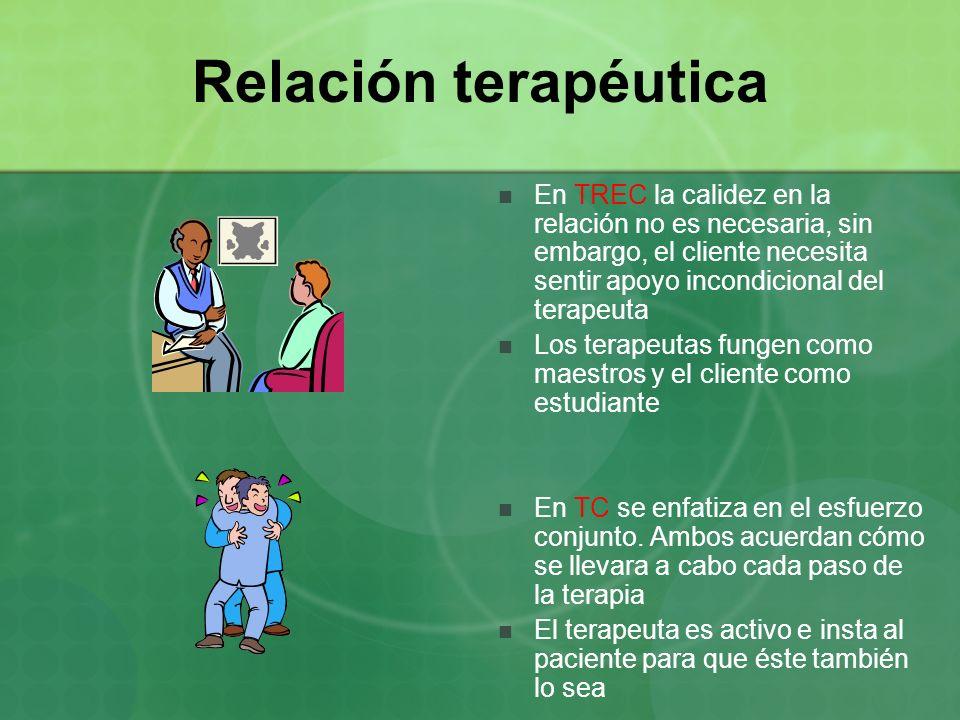 Relación terapéutica En TREC la calidez en la relación no es necesaria, sin embargo, el cliente necesita sentir apoyo incondicional del terapeuta Los