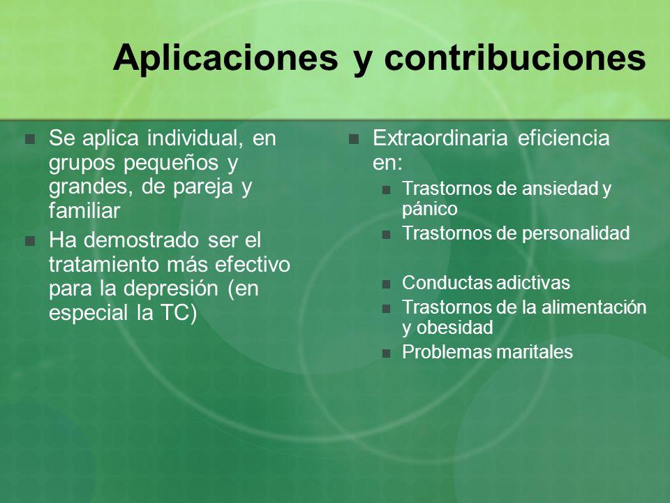 Aplicaciones y contribuciones Se aplica individual, en grupos pequeños y grandes, de pareja y familiar Ha demostrado ser el tratamiento más efectivo p