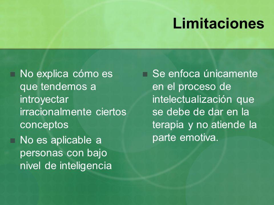 Limitaciones No explica cómo es que tendemos a introyectar irracionalmente ciertos conceptos No es aplicable a personas con bajo nivel de inteligencia