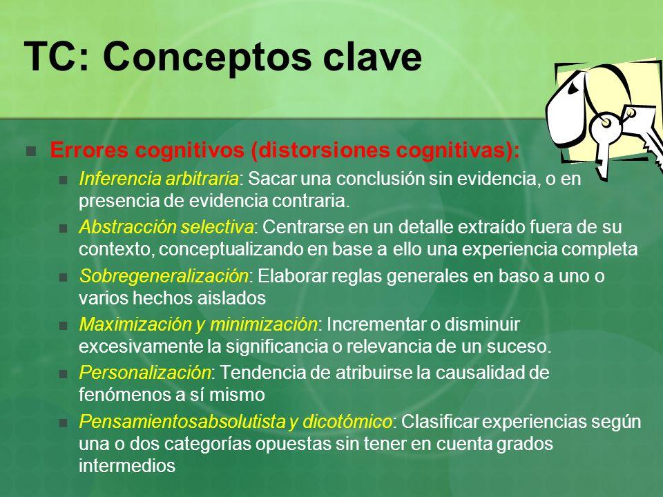 TC: Conceptos clave Errores cognitivos (distorsiones cognitivas): Inferencia arbitraria: Sacar una conclusión sin evidencia, o en presencia de evidenc
