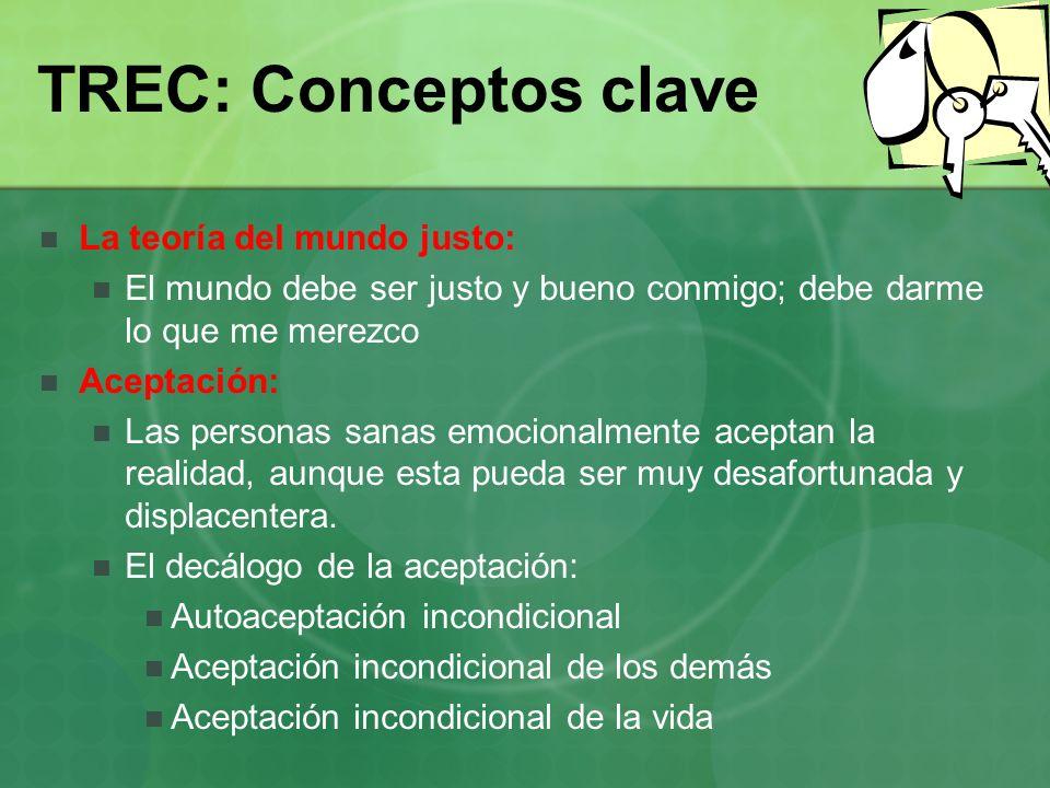 TREC: Conceptos clave La teoría del mundo justo: El mundo debe ser justo y bueno conmigo; debe darme lo que me merezco Aceptación: Las personas sanas