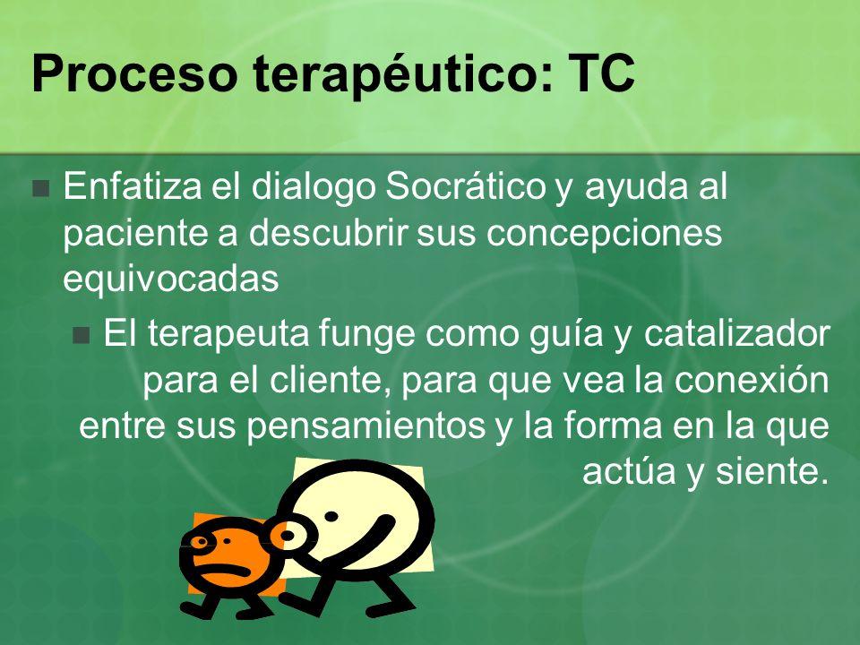 Proceso terapéutico: TC Enfatiza el dialogo Socrático y ayuda al paciente a descubrir sus concepciones equivocadas El terapeuta funge como guía y cata