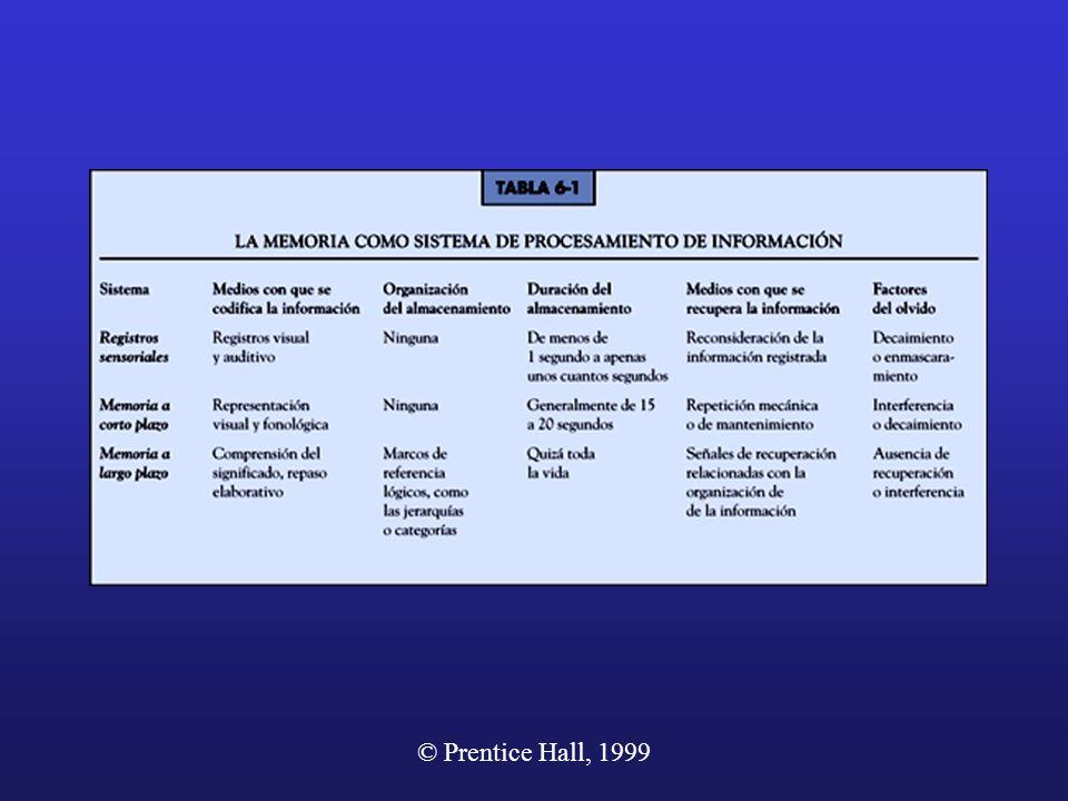 © Prentice Hall, 1999 La Memoria como sistema de procesamiento de información