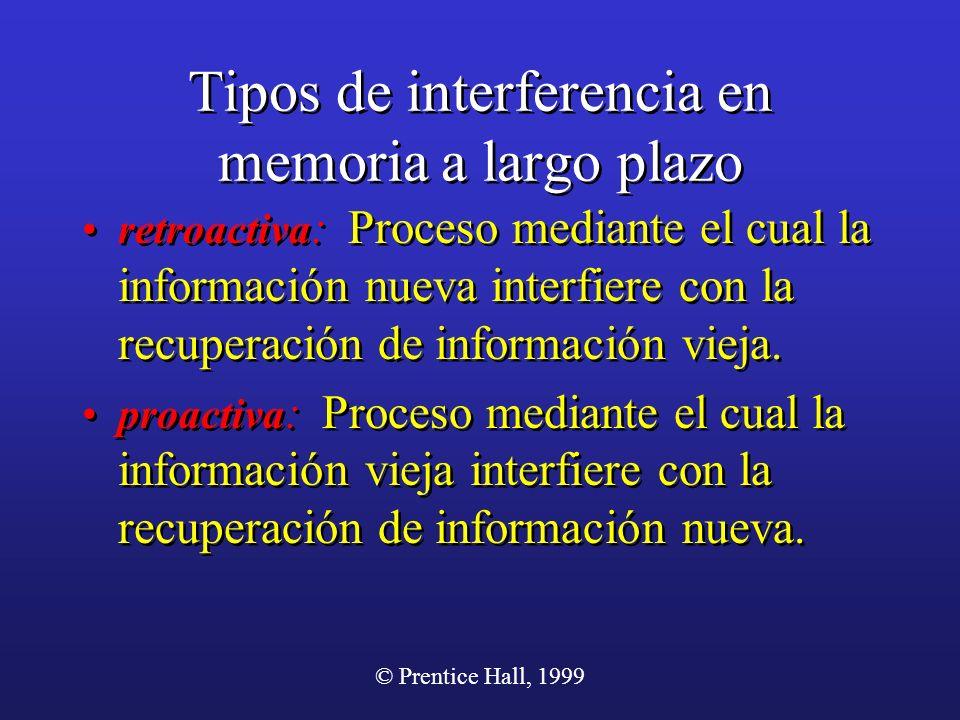 © Prentice Hall, 1999 Tipos de interferencia en memoria a largo plazo retroactiva : Proceso mediante el cual la información nueva interfiere con la re