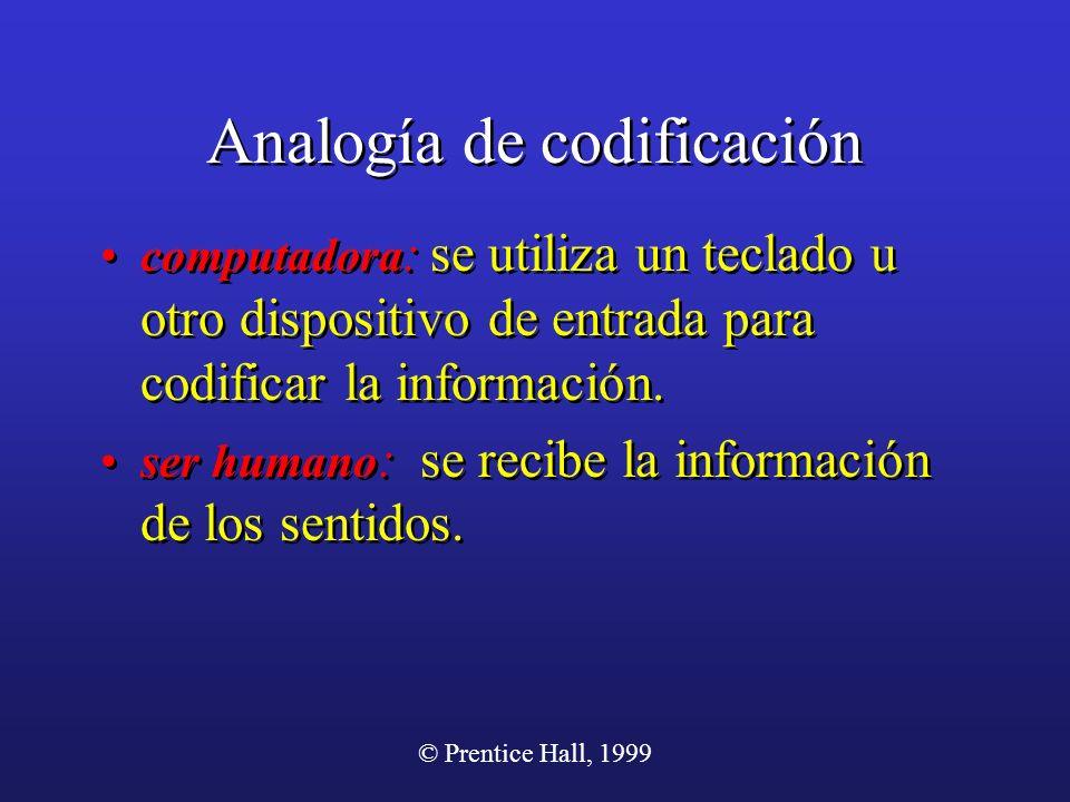 © Prentice Hall, 1999 Analogía de codificación computadora : se utiliza un teclado u otro dispositivo de entrada para codificar la información. ser hu