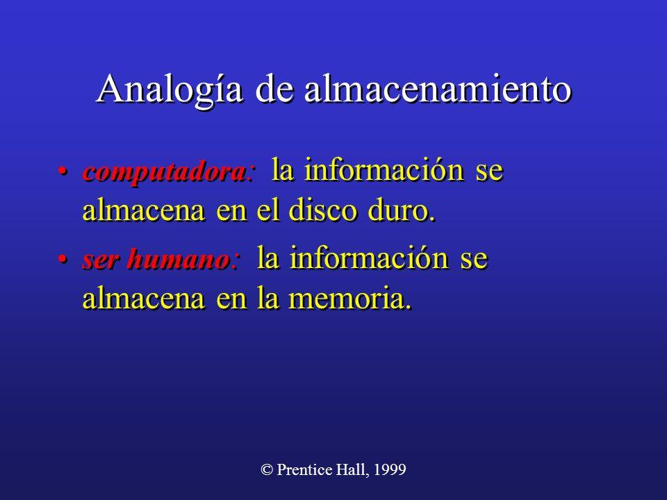 © Prentice Hall, 1999 Analogía de almacenamiento computadora : la información se almacena en el disco duro. ser humano : la información se almacena en