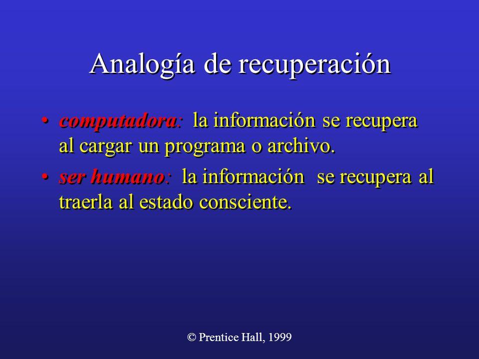 © Prentice Hall, 1999 Analogía de recuperación computadora: la información se recupera al cargar un programa o archivo. ser humano: la información se